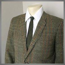 Vintage 1960s Autumn Tones Hunter Green Plaid Tweed Sport Coat Jacket M