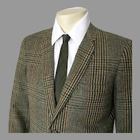 Vintage 1960s Autumn Tones Hunter Green Plaid Tweed Sport Coat Jacket M