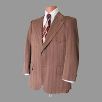 Vintage 1960s Brown Tan Dark Red Russet Chevron Striped Knit Sportcoat with Back Belt Waistband L