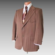 Vintage 1960s Brown Tan Dark Red Russet Chevron Striped Knit Sportcoat with Back Belt Waistband