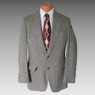 Vintage 1960s Gray Cream Olive Chevron Tweed Menswear Jacket Sportcoat Sport Coat