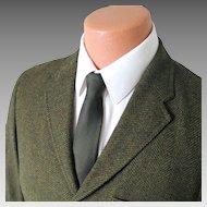 Vintage 1960s Fieldshire Deep Moss Green Chevron Menswear Jacket Sport Coat Sportcoat