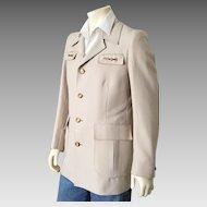 Vintage 1970s Creamy Khaki Safari Look Sport Coat Jacket with Polo Pony Lining L XL