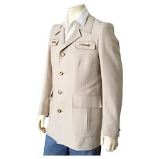 Vintage 1970s Creamy Khaki Safari Look Sport Coat Jacket with Polo Pony Lining L XL