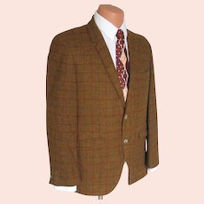 Vintage 1960s Hyde Park Gold Plaid Menswear Sportcoat Sport Coat Jacket L XL