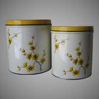Vintage 1940s Yellow and Black Flowers on White Canisters with Shiny Yellow Lids