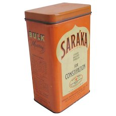 Vintage 1940s Orange Cream and Black Saraka Lidded Tin Rectangular Canister