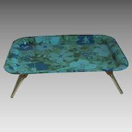 Vintage 1970s Bed Tray with Modern Turquoise Blue Olive Green Flower Power Print