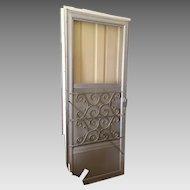 Vintage Mid Century Aluminum Mill Finish Storm Door with Scroll Design