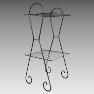 Vintage 1950s MCM Mid Century Modern Black Wire Telephone Table Stand Shelf