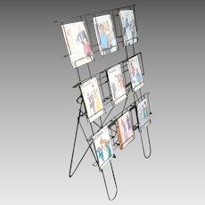 Vintage 1950s Black Wire Media Rack Sewing Pattern Display
