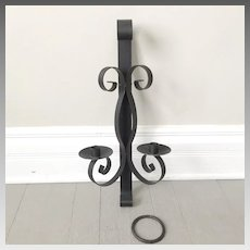 Vintage 1960s Black Metal Wall Sconce for Two Candles