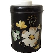 Vintage 1940s Little Black Hand Painted Ransburg Style Floral Metal Canister