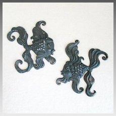 Vintage Pair of 1950s Kitschy Black Matte Metal Fancy Fish Wall Hanging Decor
