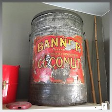 "Enormous Early 1900s 2 FEET HIGH Vintage ""Banner"" Sweetened Coconut Tin Canister"