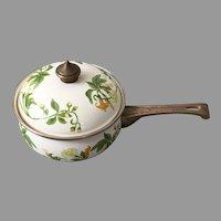 Vintage 1960s Enamel Cookware Lily Trumpet Vine Design Pot Skillet Pan with Lid