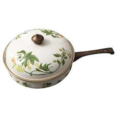 Vintage 1960s Enamel Cookware Lily Trumpet Vine Design Skillet Saute Pan with Lid