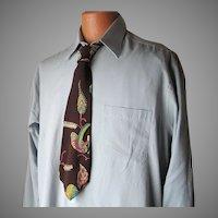 Vintage De Bolt's Ritter Fashion Necktie Espresso Brown, Chartreuse, Teal, Orchid Print