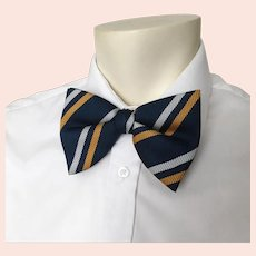 Vintage 1970s Wembley Fat Navy Golden Yellow and  Silver White Ribbed Stripe Bowtie Bow Tie