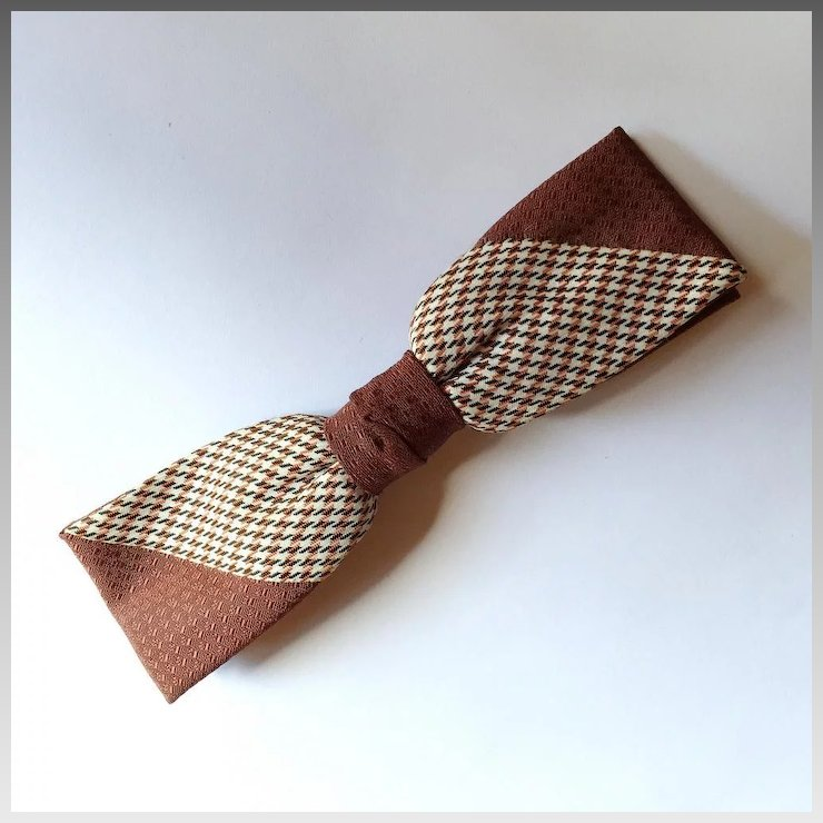vintage 1950s haband brown cream jacquard bow tie bowtie with