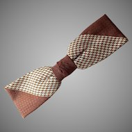 Vintage 1950s Haband Brown Cream Jacquard Bow Tie Bowtie With Dramatic Diagonal Design