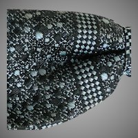 Vintage 1950s Black Blue Gray Checkerboard Jacquard Weave Clip-on Bow Tie Bowtie