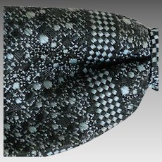 Vintage 1950s Black Blue Gray Checkerboard Jacquard Weave Clip-on Bow Tie Bowtie