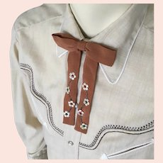 Vintage 1950s Light Brown Rockabilly Swing String Tie Bowtie with Flowers and Faux Pearls Rare FREE SHIPPING to US destinations