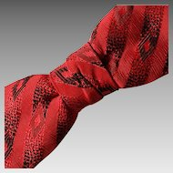 Vintage 1950s Red and Black Rockabilly Jacquard Bowtie Bow Tie Clip On