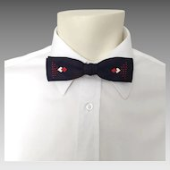 Vintage 1950s Skinny Navy Blue Red and White Jacquard Harlequin Diamond Bow Tie Bowtie