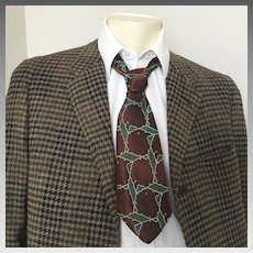 Vintage 1940s Dark Brown Forest Green Jacquard Necktie Neck Tie