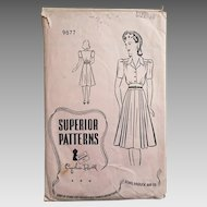 Vintage 1940s Superior Patterns Shirtwaist Dress Pattern Cynthia Powell 9877