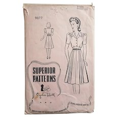 Vintage 1940s Superior Patterns Shirtwaist Dress Pattern Cynthia Powell 9877