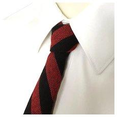 Vintage 1960s Dayton's Red Black Striped Wool Skinny Neck Tie Necktie