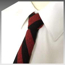 Vintage 1960s Dayton's Red Black Striped Wool Skinny Neck Tie Necktie