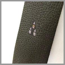 Vintage 1960s Dark Avocado Green Black Textured Reptile Weave Necktie Neck Tie with Embroidered Accents