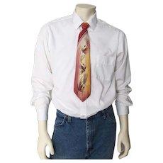Vintage 1940s Hand Painted Helmsley King Desertones Fishing Lures Neck Tie Necktie