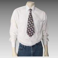 Vintage 1940s Navy Blue Cream Taupe Pink Abstract Towncraft Delux Cravat Neck Tie Necktie