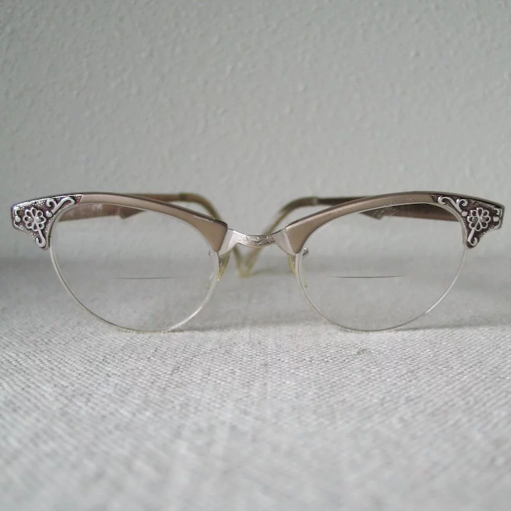 cd12b78446 Vintage 1960s Artcraft Metallic Browline Eyeglass Frames Eyeglasses with  Flower Design