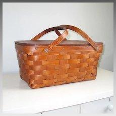 Vintage Woven Bent Wood Double Handled Picnic Basket