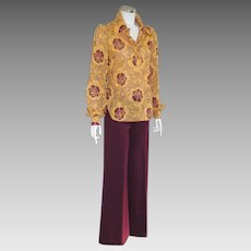 Vintage 1970s Red Eye Two Piece Pantsuit Maroon Gold  S M