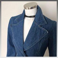 1970s Vintage Blue Jean Denim Bell Bottom Pantsuit S M
