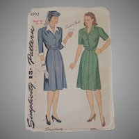 Vintage 1944 Simplicity Shirtwaist Dress Pattern 4992 Larger Size Bust 42