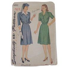 Vintage 1944 Simplicity Shirtwaist Dress Pattern 4992 Larger Size Bust 42