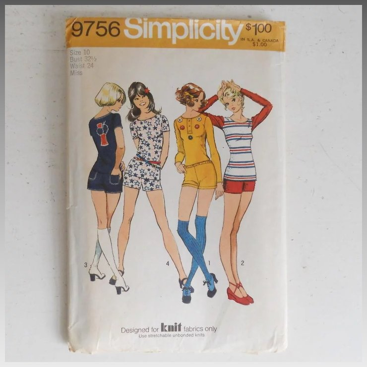 Vintage 1970s Simplicity Sewing Pattern 9756 Hot Pants Short Shorts ...