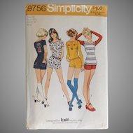 Vintage 1970s Simplicity Sewing Pattern 9756 Hot Pants Short Shorts T Shirt