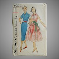 Vintage 1956 Simplicity Shirtwaist Dress Pattern Number 1924 Fit N Flare