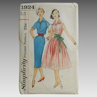 Vintage 1956 Simplicity Shirtwaist Dress Pattern 1924 Fit N Flare