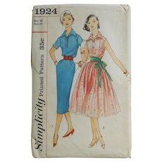 Vintage 1956 Simplicity Shirtwaist Dress Pattern 1924 Fit N Flare