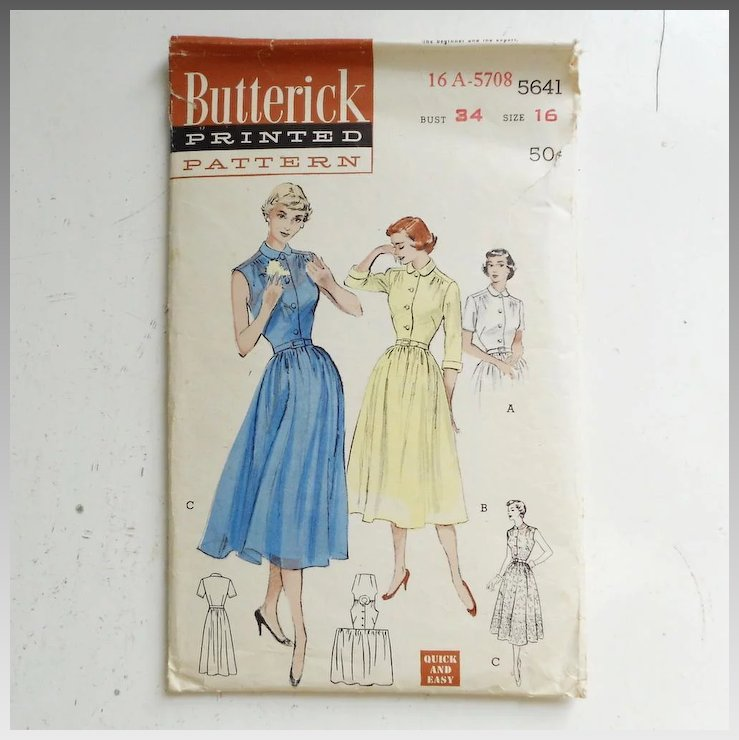 Vintage 1950s Butterick Quick And Easy Sewing Pattern For Fit And
